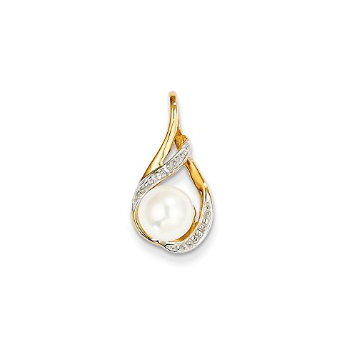 14k Yellow Gold 8mm White Round Freshwater Cultured Pearl Diamond Pendant Charm Necklace Fine Jewelry Gifts For Women For Her