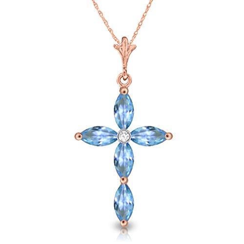 Blue Topaz Cross Peridot - 1.1 Carat 14k 24