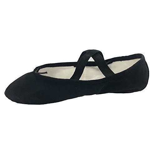 Danzcue Adult Split Sole Canvas Ballet Slipper (7 M, Black) ()