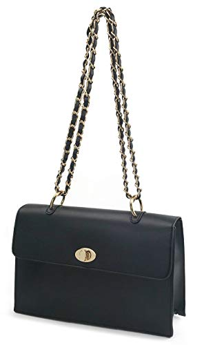 Women Chain Shoulder Handbag with Turn Lock Minimalist Flap Top Cross Body Bag Purse (Black)
