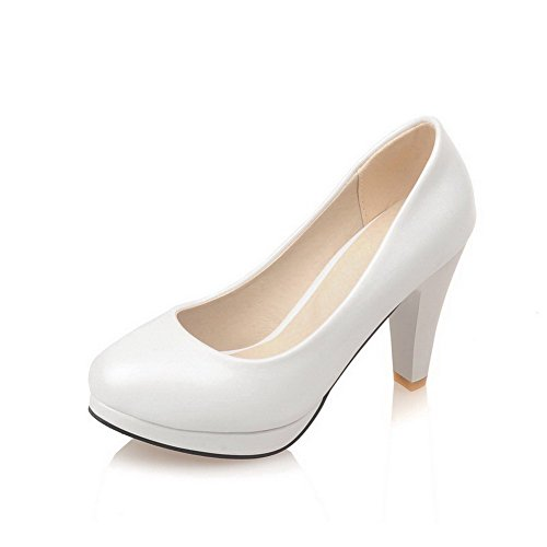 VogueZone009 Women's Soft Material Pull-on Round Closed Toe High-Heels Solid Pumps-Shoes White OinQTN