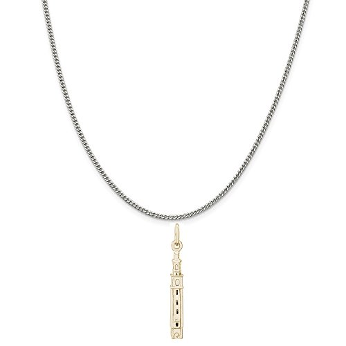 Rembrandt Charms Two-Tone Sterling Silver Carillon Richmond VA Charm on a Sterling Silver Curb Chain Necklace, ()