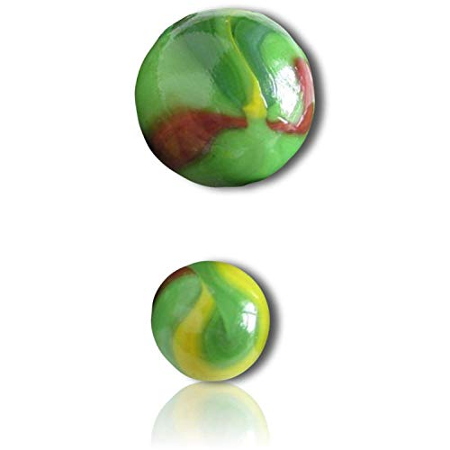 """Custom & Decorative {1/2'' Inch} 1000 Small-Size """"Round"""" Glass Marbles w/Unique Cool Swirly Swirled Animal Turtle Like Shooter Game Player Fun Swirls Vintage Style [Green, Red & Yellow] + Certificate by Marbles Galore (Image #2)"""