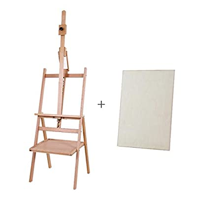 LING AI DA MAI Beech Fold Easel, Solid Wood Adjustable with A Pallet Easel, Artist Studio Oil Easel, Display Stand