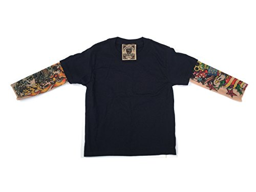Black Wild Rose Mens Cotton T Shirt IKandy Flames Tiger Tattoo Sleeve