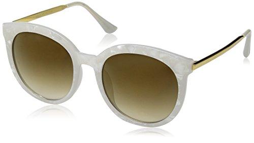 zeroUV Women's Oversized Marble Finish Metal Temple Mirrored Lens Round Sunglasses, White Gold / Gold Mirror, 55 - Monster Sunglasses Gentle Amazon