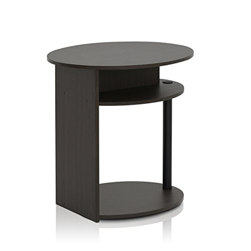 Furinno 15080WNBK Oval End Table, Walnut by Furinno