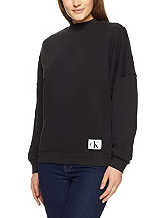 Calvin Klein Women's Monogram L/S Sweatshirt, Black, S