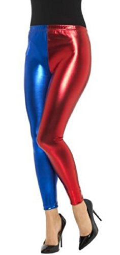 Crazy Girls Womens Ladies Metallic Shiny Glanz Squad Costume Wet Look Leggings (S/M-US4/6, Red/Blue)