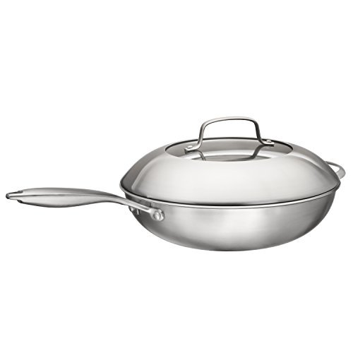 Multi-Ply Clad 18/10 Stainless Steel Wok Pan Stir Fry Pan With Dome Lid and Steamer Basket, 13-inch, By Bruntmor BR-CS182