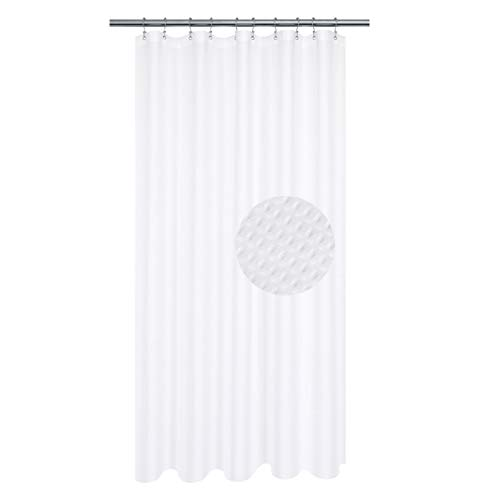 Stall Shower Curtain 54 x 72 inch, Fabric, Waffle Weave, Hotel Collection, 230 GSM Heavyweight, Water Repellent, Machine Washable, White Pique Pattern Decorative Bathroom Curtain (Curtain Inch Shower 54)