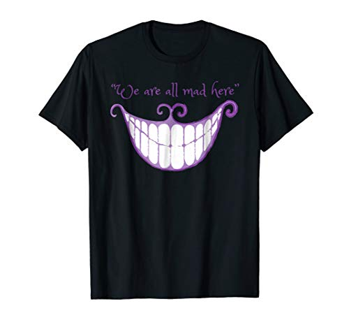 Mens We Are All Mad Here Alice Cat Smile Halloween Costume TShirt 3XL Black ()