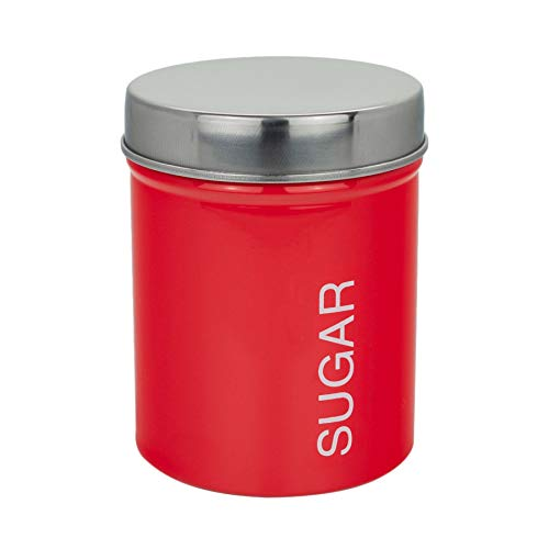 - Harbour Housewares Metal Sugar Canister, Secure Rubber Seal, Red