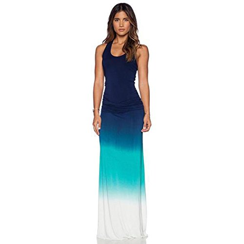 Vrose Flosi Fashion Women Gradient Color Dress Summer Maxi Beach Dress for Holiday Floor-Length
