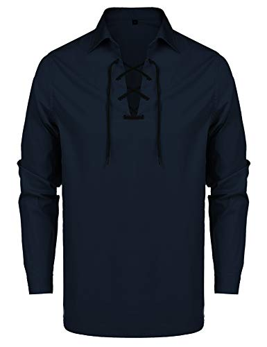 URRU Mens Casual Long Sleeve Lace-up Shirt Medieval Renaissance Pirate Costume Shirt Navy Blue S]()