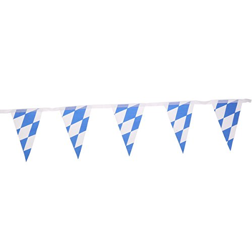 Tinksky 7M Oktoberfest Bavarian Check Flag Pennant Banner Wedding Party Decoration (Blue and White Grid)