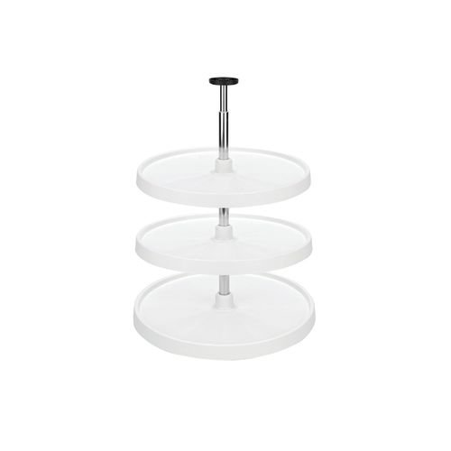 Rev-A-Shelf - 6073-18-11-536 - 18 In. White Polymer 3-Shelf Full Circle Lazy Susan Set by Rev-A-Shelf