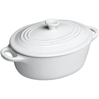 Le Creuset PG1260-0816 Stoneware Mini Oval Cocotte, 12-Ounce, White