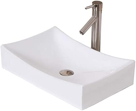 ELITE Bathroom Long Rectangle White Ceramic Porcelain Vessel Sink Brushed Nickel Faucet Combo