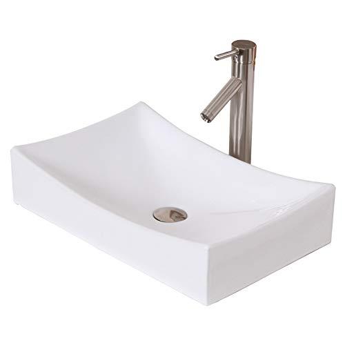 ELITE Bathroom Long Rectangle White Ceramic Porcelain Vessel Sink Brushed Nickel Faucet Combo