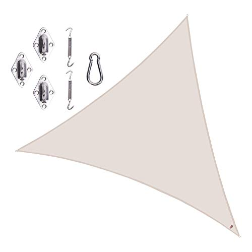 Cool Area Triangle 16 5 x 16 5 x 16 5 Durable Sun Shade Sail with Stainless Steel Hardware Kit, UV Block Fabric Patio Shade Sail in Color Cream