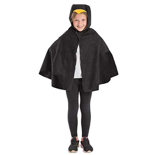Charlie Crow Blackbird Cape Costume for Kids. One Size. Fits 3-8 Years. ()