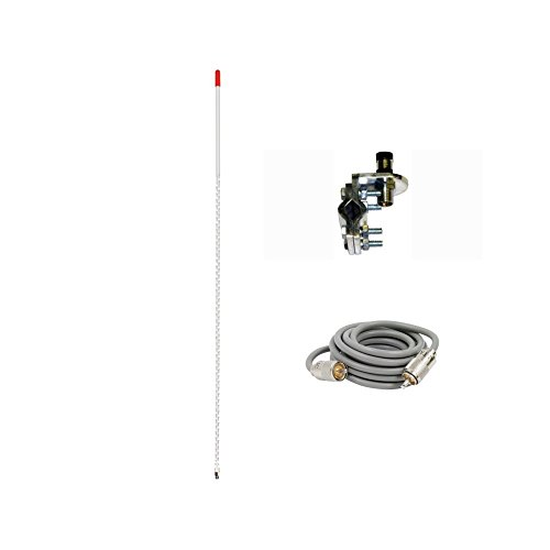 Pro Trucker Single 4' 1,000 Watt CB Radio Antenna Kit With Mirror Mount, Antenna Stud and 9' Coax Cable - (Cb Radio Mirror Mounts Cable)