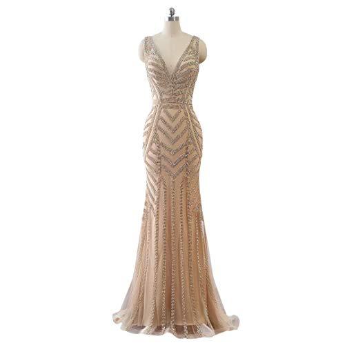 V Prom Lange Ausschnitt Love King's Formale Champagner1 Frauen Maxi Mermaid Kleider Strass Abendkleider qFBwUxv0