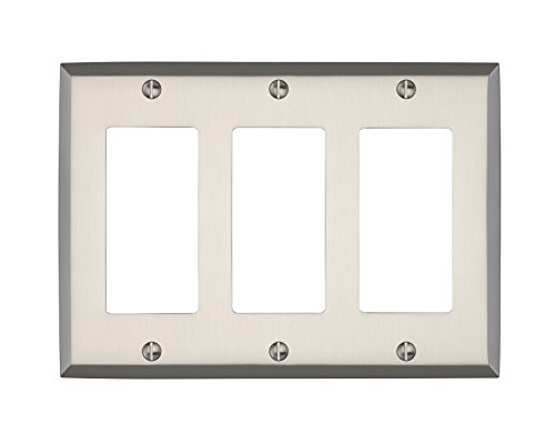 Triple Faceplate - MAYKKE Graham Triple Rocker Light Switch Cover | Premium Solid Brass 3 Gang Wall Plate | 5 Color Finishes to Choose From | Brushed Nickel, ALA1020303
