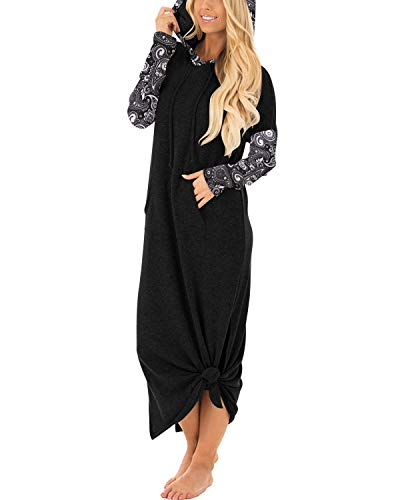 GIKING Women Long Sleeve Halloween Cashew Flower Flowy Tunic Hoodies Long Dresses BFloral XL