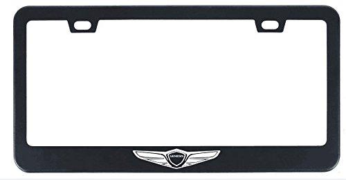 Deselen Stainless Steel License Plate Frame for Genesis with Screw Caps Cover Set, Genesis Logo,Matt Black (2 Pieces Front/Back) LP-GE01BP