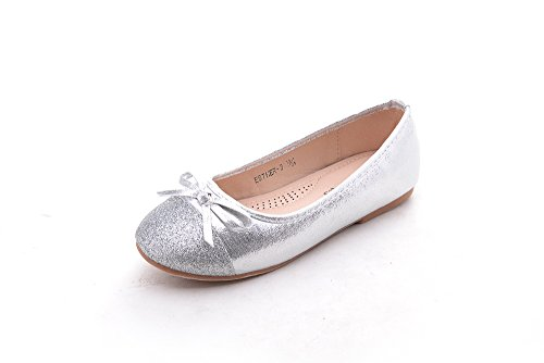 Mila Girls Casual Slip On Glitter Ballerina Dress Flat Shoes Party Wedding (Esther-3) Sliver 1 by Mila Lady