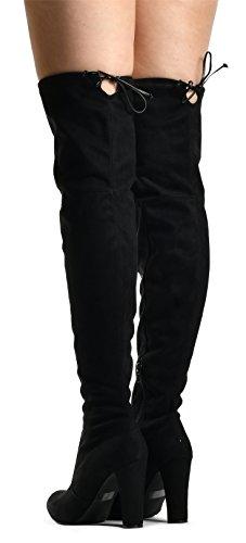 LUSTHAVE Blake Frauen Sexy Overknee Pullon Boot - Kordelzug Stretchy Komfortable Blockabsatz - Seitlicher Reißverschluss Schwarz