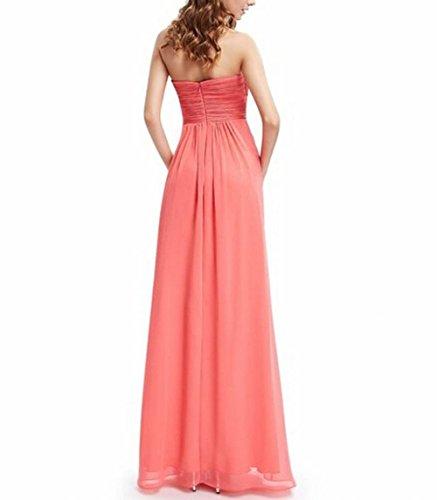 Leader Schönheit Damen Korallenrot Party der Gerüscht Lang Kleid Runder Rosa Brustumfang Ausschnitt rArwSqp