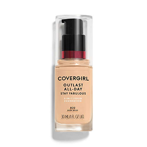 - COVERGIRL Outlast All-Day Stay Fabulous 3-in-1 Foundation Nude Beige, 1 oz (packaging may vary)