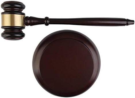 Agger 27cm Länge Hölzerner Hammer Auktion Hammer mit Sound Block für Richter Attorney (1PC)