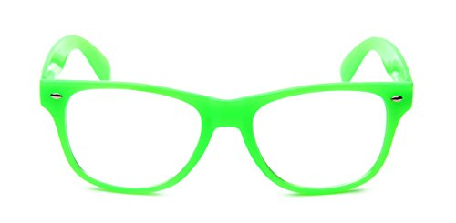 Tantino Wayfarer Eyeglasses Classic Vintage Style (Neon Green, - Green Glasses Neon