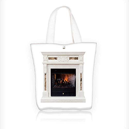 Women's Canvas Tote Bag, white artificial electronic fireplace with firewoods isolated on white Ladies Top-handle Handbags, work school Shoulder Bag W11xH11xD3 INCH