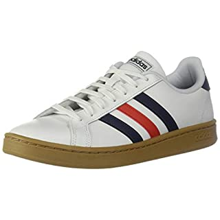 adidas mens Grand Court Tennis Shoe, White/Trace Blue/Active Red, 10 US