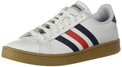 - adidas Men's Grand Court Sneaker, White/Trace blue/active Red, 8.5 M US