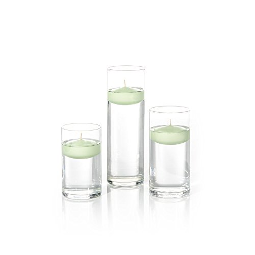 - Yummi Set of 18 Floating Candles and Cylinder Vases - Mint