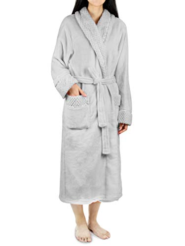 Deluxe Women Fleece Robe with Satin Trim | Luxurious Plush Spa Bathrobe Waffle Design Light Grey