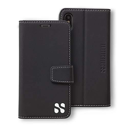 SafeSleeve Anti Radiation RFID iPhone Case: iPhone Xs Max ELF & RF Blocking Identity Theft Protection Wallet (Black)