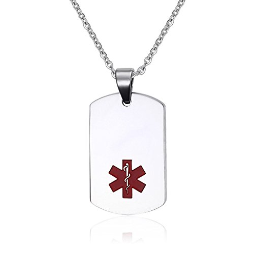 Heart Id Tag Necklace (Free Engraving-Women's and Men's Stainless Steel Dog Tag Medical Alert ID Pendant Necklace with 20