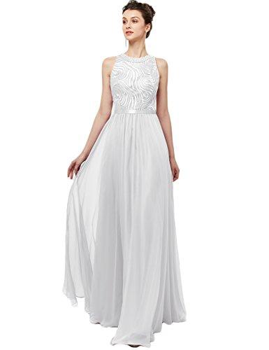 YIRENWANSHA Long Bridesmaid Dress 2018 Sleeveless A Line Chiffon Maxi Evening Dresses Plus Size Semi-Formal Bridesmaid Gowns Manual Beaded Empire Waist Sash Graceful Party Gown YJW2 White Size 22W ()