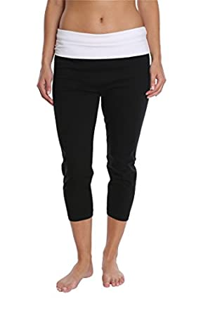 Nouveau Women's Workout Active Capri Yoga Pant with Contrasting Color Waistband Casual Loungewear