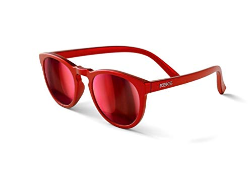 REKS Polarized Unbreakable ROUND Sunglasses, Red Frame, Black-Red Mirror Lens
