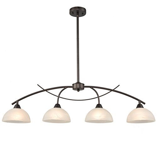 Dazhuan Vintage Frosted Glass Shade Chandelier 4-Lights Pendant Lighting Hanging Ceiling Lamp -