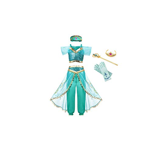 Girl Costume Arabian Princess Jasmine Dress Up Sleeveless Sequin Cosplay Clothes Kid Party Fantasy,Jasmine Dress Set,9 -
