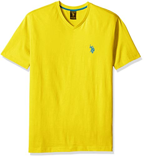 U.S. Polo Assn. Men's V-Neck T-Shirt with Small Pony, Laser Yellow, X-Large (Franela Polo)